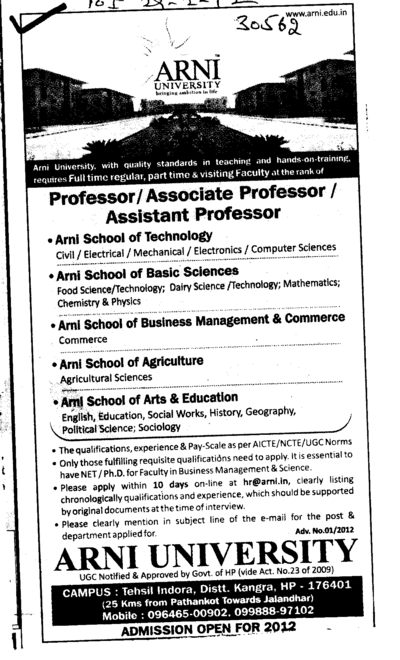 Professor,Asstt Professor and Associate Professor (Arni University Kathgarh)