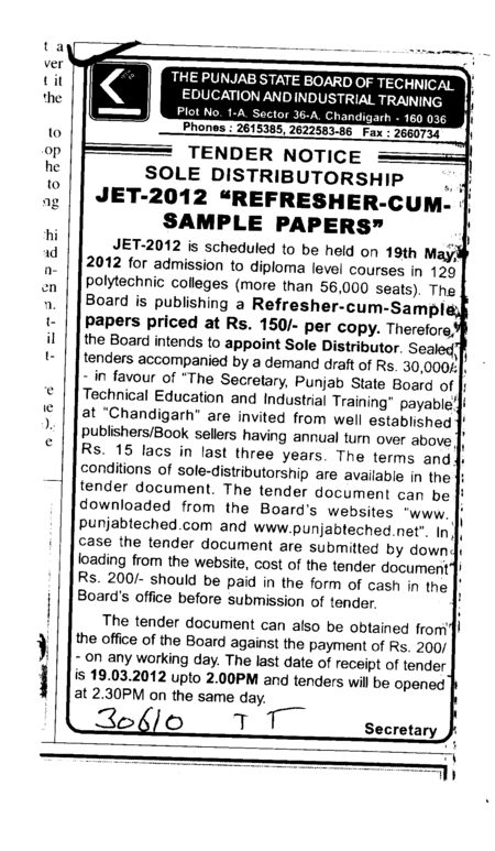 JET 2012 Refresher cum sample papers (Punjab State Board of Technical Education (PSBTE) and Industrial Training)