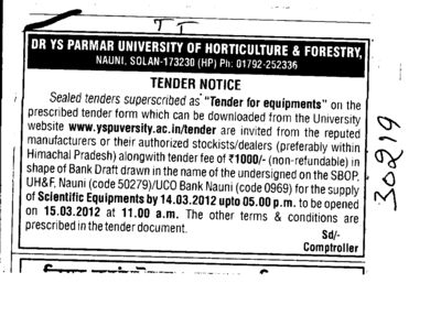 Supply of Scientific Equipments (Dr Yashwant Singh Parmar University of Horticulture and Forestry)