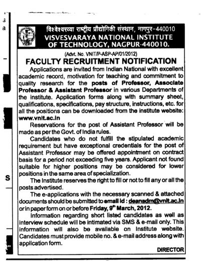 Professor,Asstt Professor and Associate Professor (Visvesvaraya National Institute of Technology (VNIT))