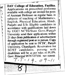 Assistant Professor on regular basis (DAV College of Education)