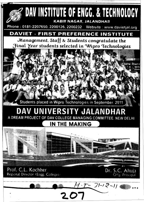 A Dream of DAV College Managing Comittee (DAV Institute of Engineering and Technology DAVIET)