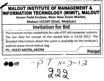Invitation for Bid (Malout Institute of Management and Information Technology MIMIT)