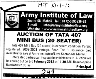 Auction of Tata 407 Mini Bus 20 seater (Army Institute of Law)
