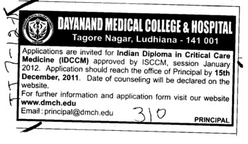 Indian Diploma in Critical Care Medicine (Dayanand Medical College and Hospital DMC)