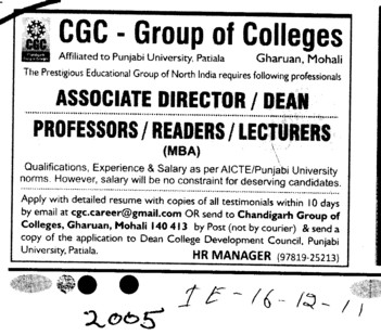 Director Associate Professor and Dean etc (Chandigarh Group of Colleges)