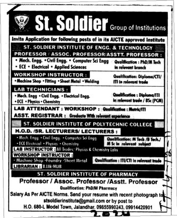 Lab Technicians and Lab Attendent etc (St Soldier Group)