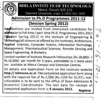 PhD Programme (Birla Institute of Technology (BIT Mesra))