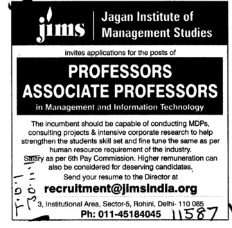 Professor and Associate Professor (Jagannath Institute of Management Studies (JIMS))
