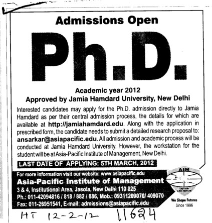 PhD Programme (Asia Pacific Institute of Management)
