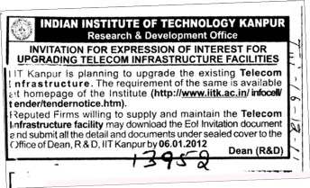 Upgrading Telecom Infrastructure Facilities (Indian Institute of Technology (IITK))