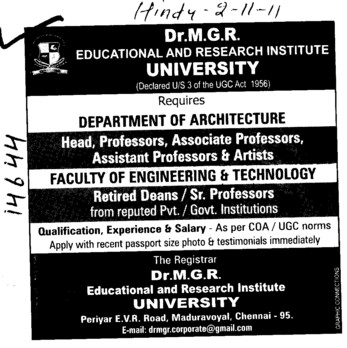 Head,Professor,Asstt Professor and Associate Professor (Dr MGR Educational and Research Institute University)