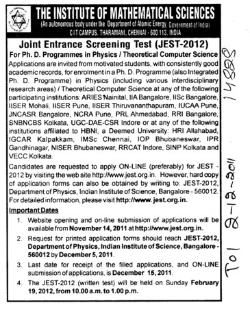 Joint Entrance Screening Test (Institute of Mathematical Sciences)