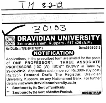 One Professor and Three Associate Professor required (Dravidian University)