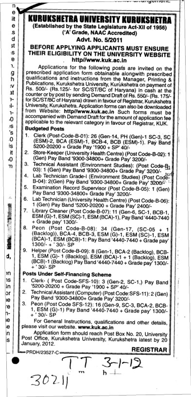 Clerk,Store keeper and Peon etc (Kurukshetra University)