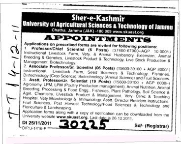 Professor,Asstt Professor and Principal ertc (Sher-e-Kashmir University of Agricultural Sciences and Technology of Kashmir)