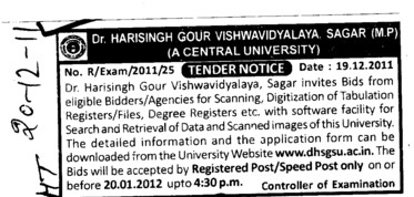 Digitization of Tabulation Registers and Files etc (Dr Harisingh Gour University)