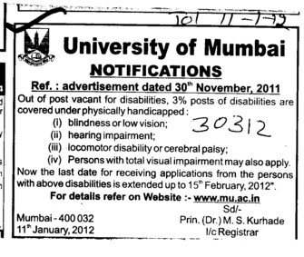 3 percent posts of disabilities (University of Mumbai (UoM))