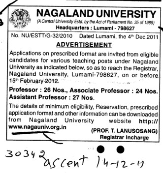 Professor,Assistant Professor and Associate Professor (Nagaland University)