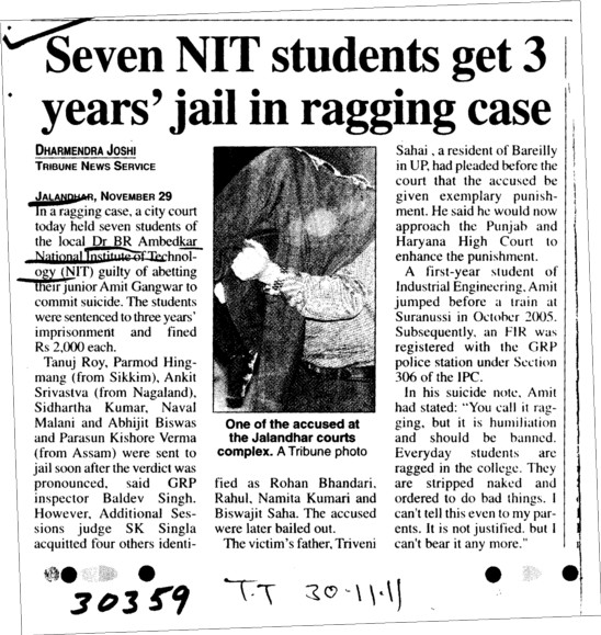 Seven NIT students get 3 years jail in ragging case (Dr BR Ambedkar National Institute of Technology (NIT))