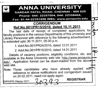 Change in the Advertisement (Anna University)
