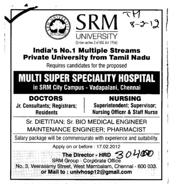 Registrars and Nursing Officer etc (SRM University)