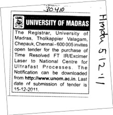 Purchase of Time Resolved FTIR etc (University of Madras)