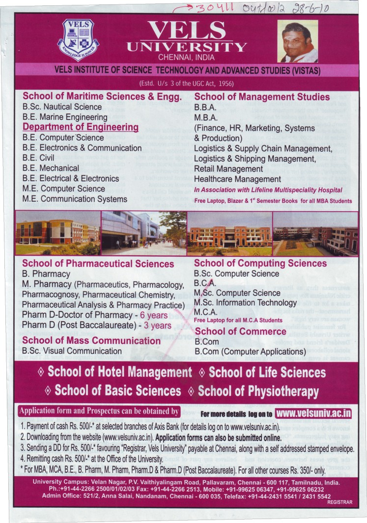 BE,BBA,BSc and MBA Programmes (VELS University)