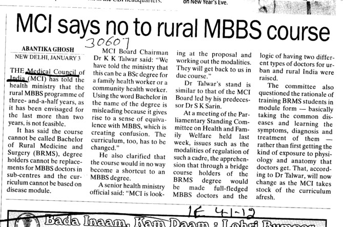 MCI says no to rural MBBS Course (Medical Council of India (MCI))
