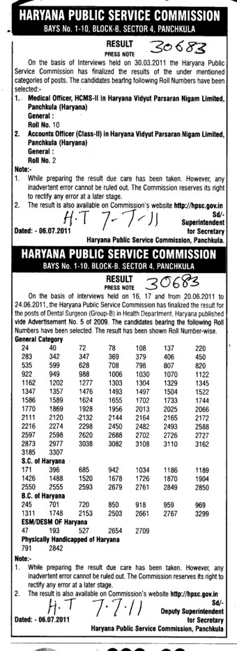 Medical Officer and Accounts Officer etc (Haryana Public Service Commission (HPSC))