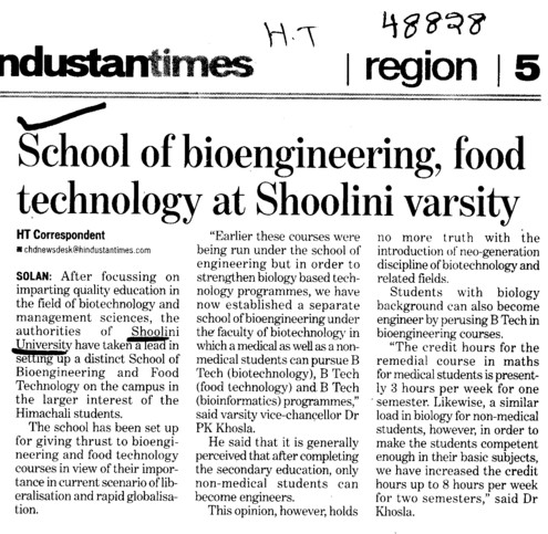 School of bioengineering food technology at Shoolini varsity (Shoolini University)