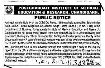 CCS Rules against Ms Sukhminder Kaur (PGIMER Dental College)