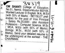 Lecturer in MA and MEd etc (OM SHANTI COLLEGE OF EDUCATION)