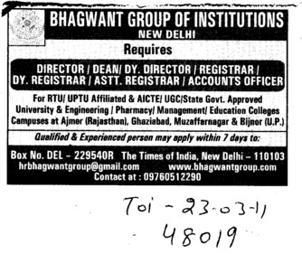 Director,Dean and Assistant Registrar etc (Bhagwant Group)