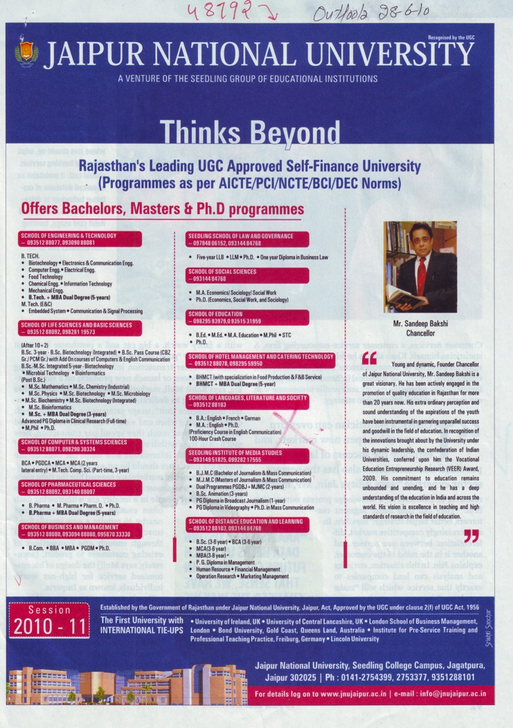 Masters and PhD Programmes (Jaipur National University)