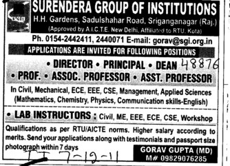 Director,Principal and Dean etc (Surendera Group of Institutions)