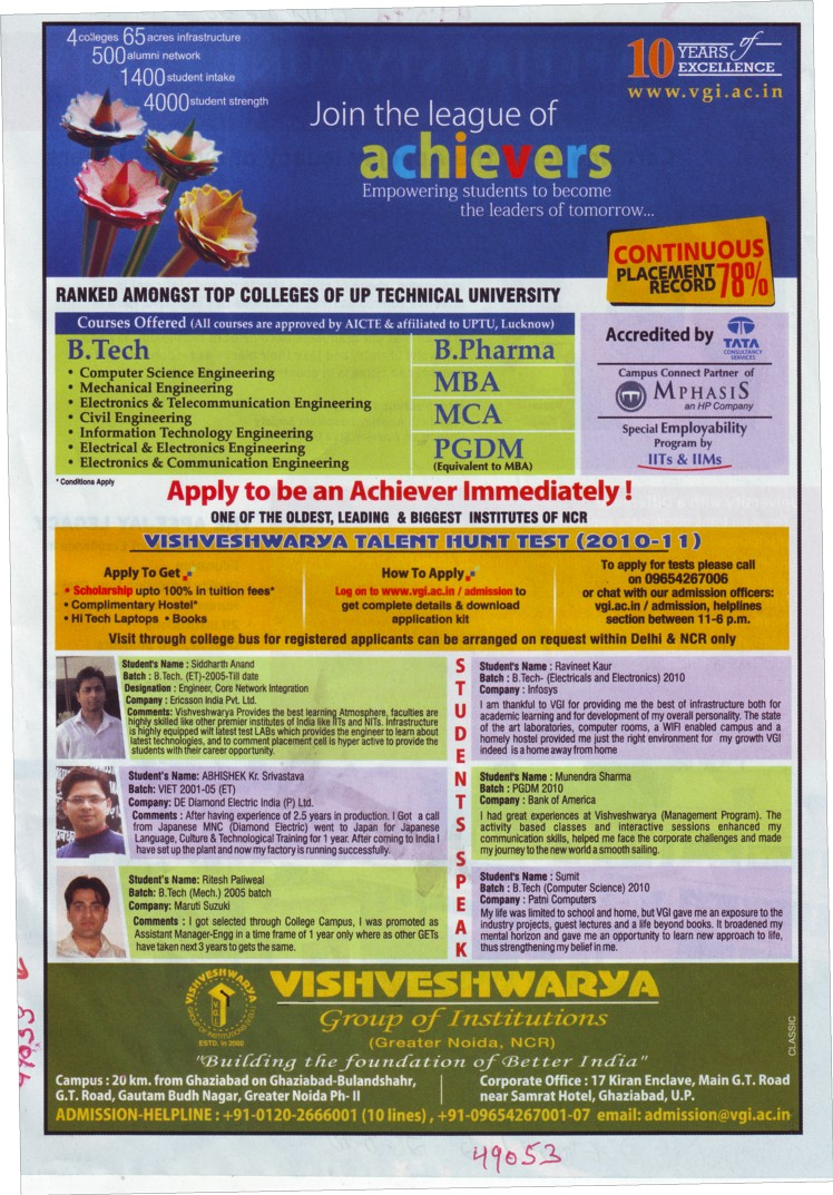 BTech,Mba and MCA etc (Vishveshwarya Group of Institutions (VGI))