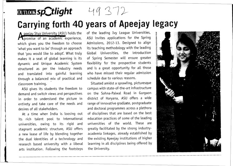 Carrying forth 40 years of Apeejay legacy (Apeejay Stya University)