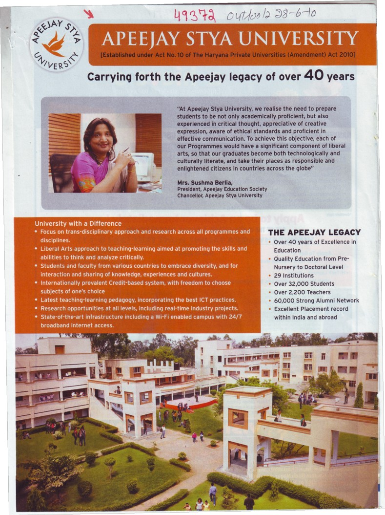 Message of President Mrs Sushma Berlia (Apeejay Stya University)