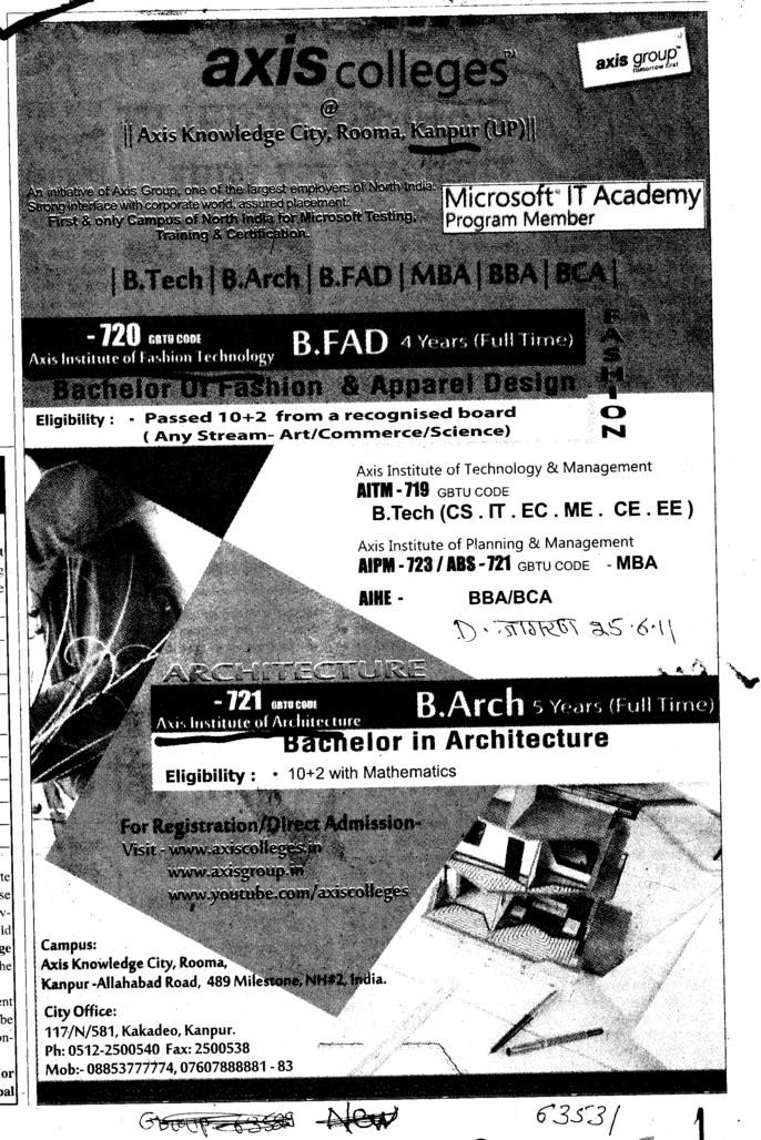 BTech,BArch and MBA etc (Axis Institute of Architecture)