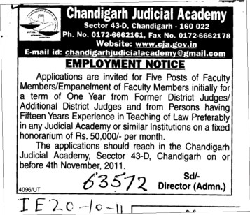 Five Posts of Faculty member (Chandigarh Judicial Academy)