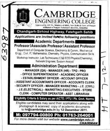 Professor,Asstt Professor and Associate Professor (Cambridge Engineering College)