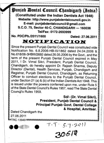 Notification (Punjab Dental Council)