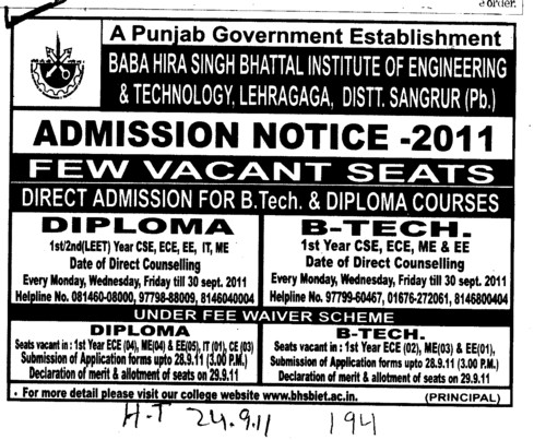 BTech and Diploma Course (Baba Hira Singh Bhattal Institute of Engineering and Technology (BHSBIET))