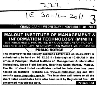 Faculty Position required (Malout Institute of Management and Information Technology MIMIT)