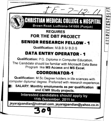 Senior Research Fellow and Coordinator etc (Christian Medical College and Hospital (CMC))