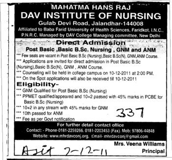 BSc Nursing and Post Basic BSc Nursing (Mahatma Hans Raj DAV Institute of Nursing)