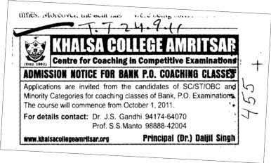 Bank PO Coaching classes (Khalsa College)