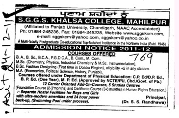 BA,BSc,BCA and PGDCA ETC (SGGS Khalsa College)
