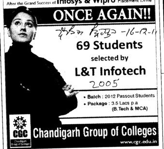 69 Students selected by L and T Infotech (Chandigarh Group of Colleges)